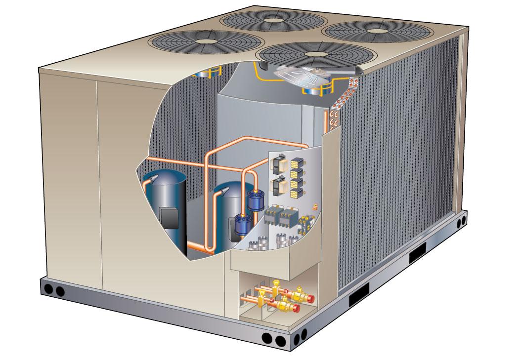 Схема компрессорно-конденсаторного блока